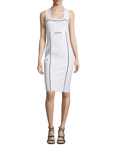 Sleeveless Sheath Dress W/Contrast Trim, Optic/Multi