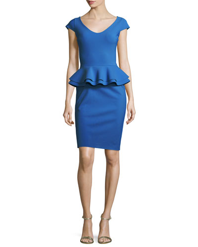 Kiarna Cap-Sleeve Peplum Cocktail Dress, Cobalt