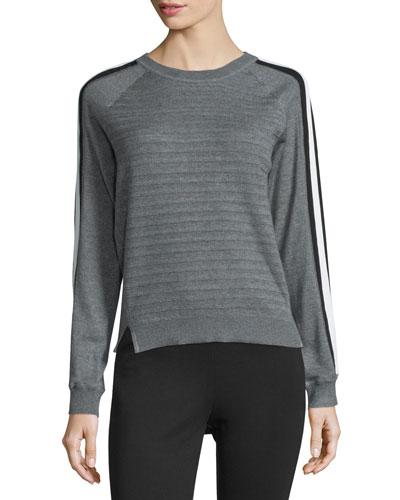 Striped Long-Sleeve Sweater, Heather Gray