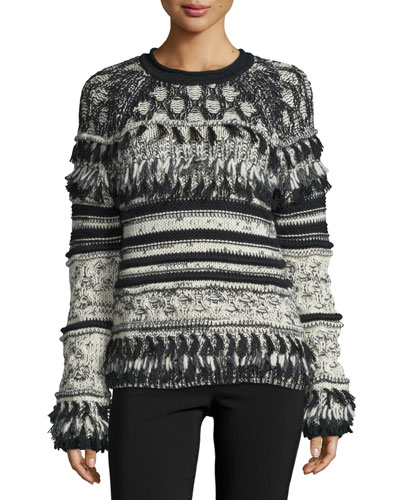 Long-Sleeve Striped Sweater W/Fringe, Jet/Multi