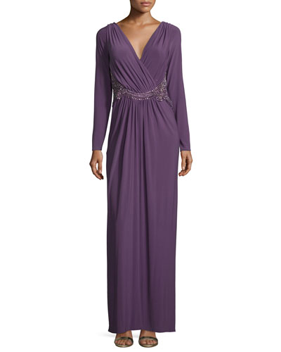 Long-Sleeve Embellished Gown, Thistle