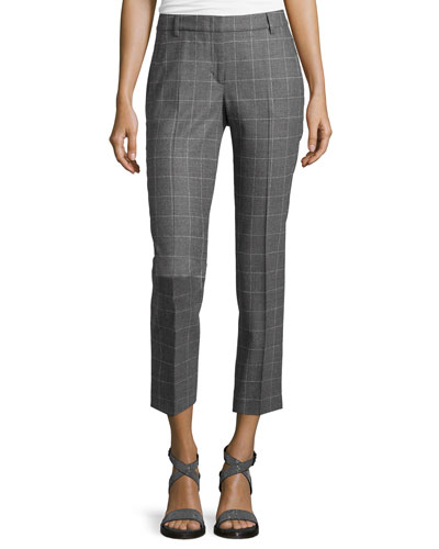 Windowpane Slim-Fit Cropped Pants, Gray