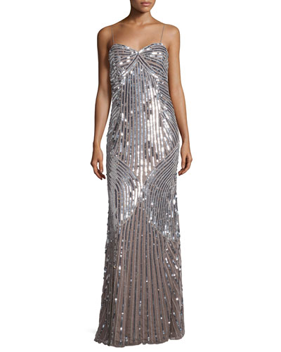 Sleeveless Sweetheart-Neck Embellished Gown, Silver