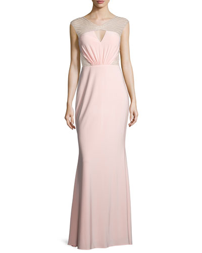 Cap-Sleeve Embellished-Inset Gown, Pink