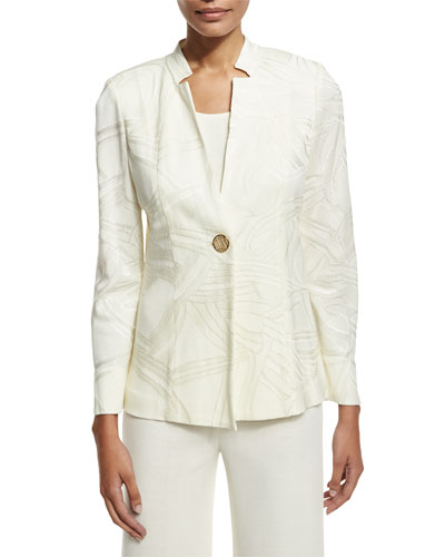 Petite Notch-Collar Ribbon-Print Jacket, Cream
