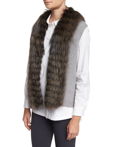 Knit Vest w/ Fox Fur Collar, Silver