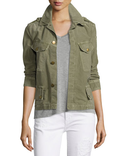The Slanted-Pocket Military Jacket, Army Green