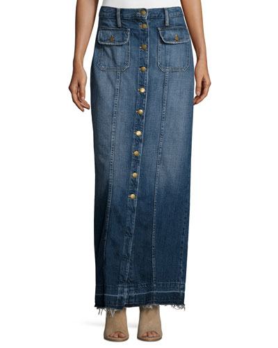 The Sally Denim Button-Front Maxi Skirt, Loved