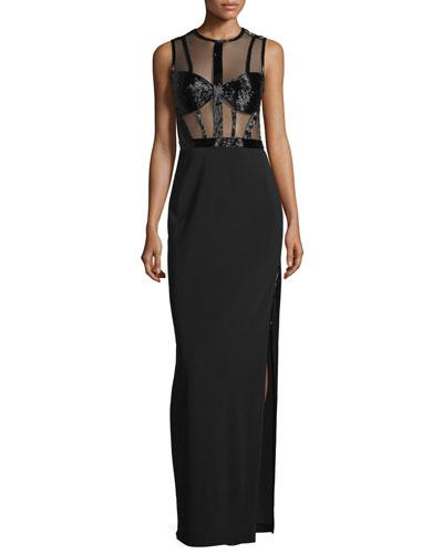 Sleeveless Beaded-Bodice Column Gown, Black