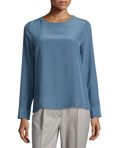 Long-Sleeve Round-Neck Blouse, Blue