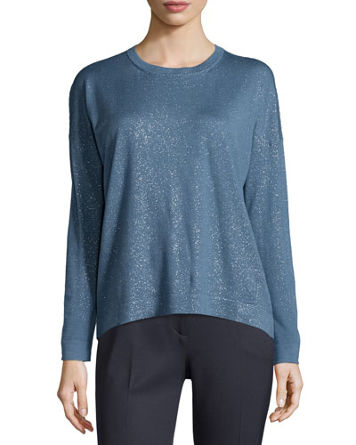 Long-Sleeve Shimmery Top, Blue