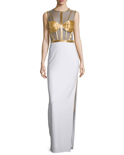 Sleeveless Beaded-Bodice Column Gown, Ivory/Gold
