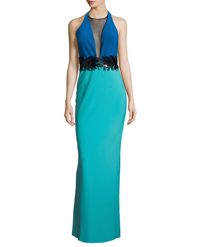 Embellished-Waist Colorblock Gown, Turquoise