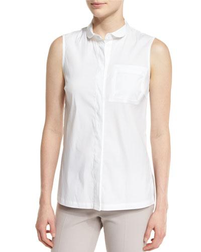 Sleeveless Side-Slit Poplin Blouse, White