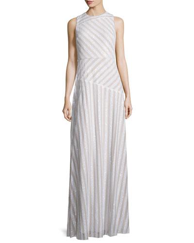 Gigi Striped Beaded Column Gown