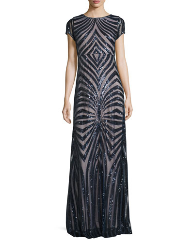 Isabelle Cap-Sleeve Geometric Sequined Gown
