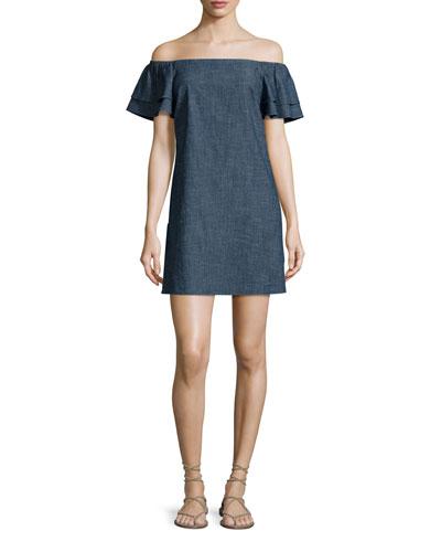 Tula Off-the-Shoulder Denim Shift Dress