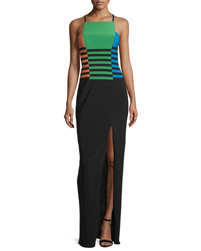 Sleeveless Colorblock Column Gown, Green/Black