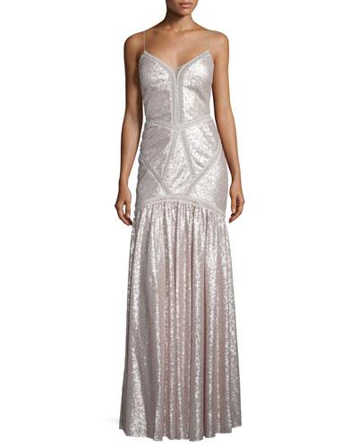 Sleeveless Embellished Mermaid Gown, Petal