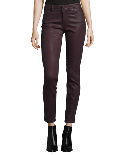 Verdugo Luxe-Coated Ultra-Skinny Ankle Jeans, Wine