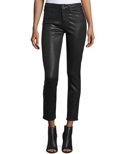 Hoxton Luxe-Coated Skinny Ankle Jeans, Black Fog
