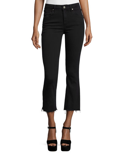 Colette Crop Flare-Leg Jeans w/Raw Hem, Vintage Black