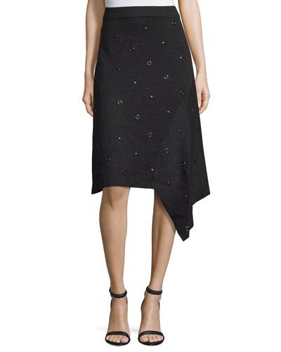 Grommet-Embellished Asymmetric Skirt, Black Onyx, Petite