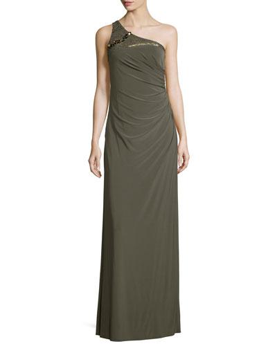 Embellished One-Shoulder Draped Gown, Olive
