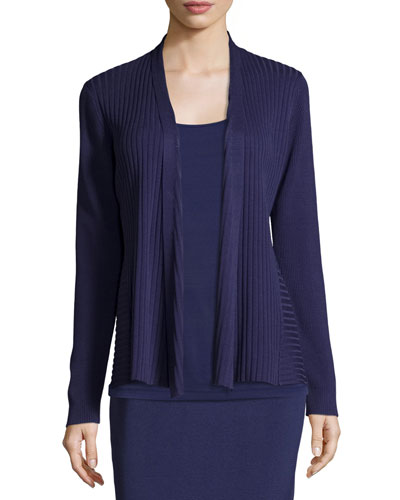 Silk/Organic Cotton Ribbed Cardigan, Dark Night, Petite