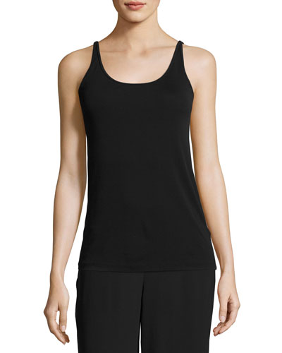 Stretch Silk Long Cami, Dark Night