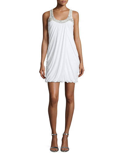 Sleeveless Embellished Bubble Dress, Ivory