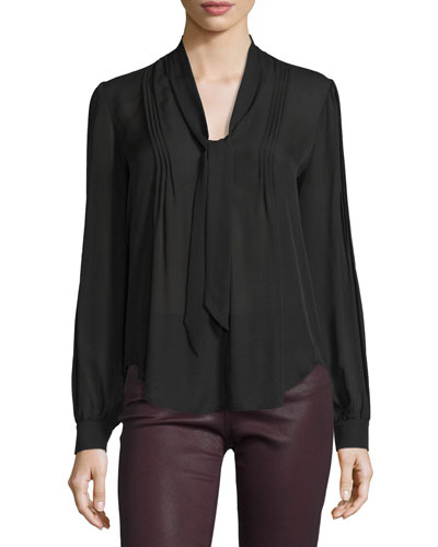 Lupita Tie-Neck Pintuck Silk Blouse, Black