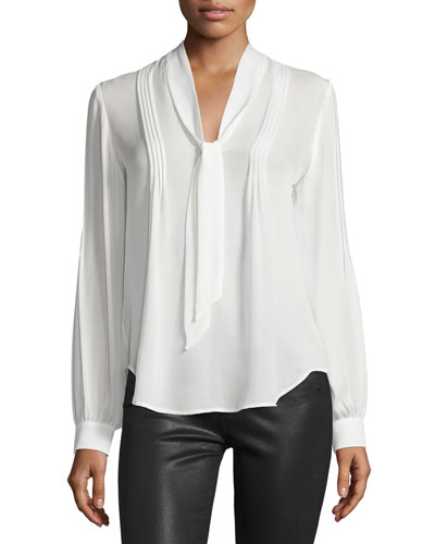Lupita Tie-Neck Pintuck Silk Blouse, White