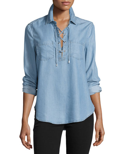 Billie Lace-Up Chambray Shirt, Ashlyn