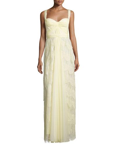 Sleeveless Sweetheart-Neck Layered Lace Dress, Lemon