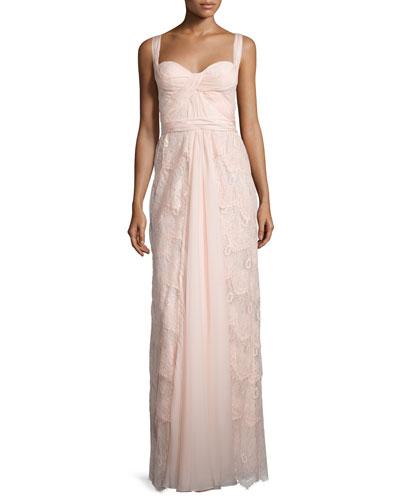 Sleeveless Sweetheart-Neck Layered Lace Dress, Petal