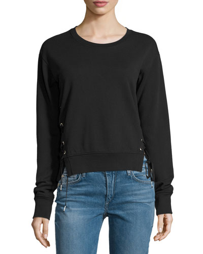 Lace-Up Sweatshirt, Black