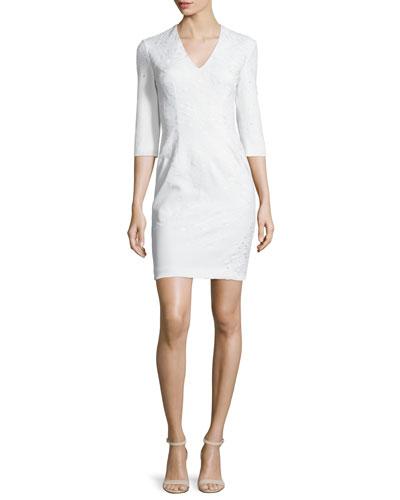 3/4-Sleeve Jacquard Sheath Dress, Ivory