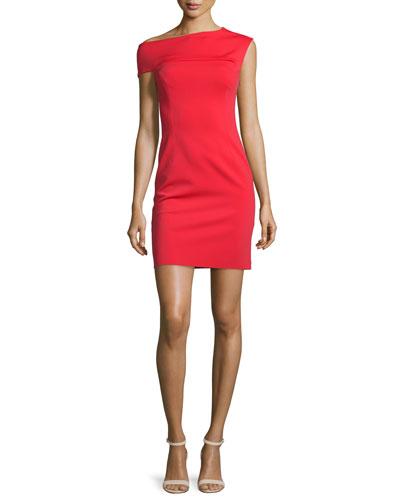 Asymmetric Ponte Sheath Dress, Red
