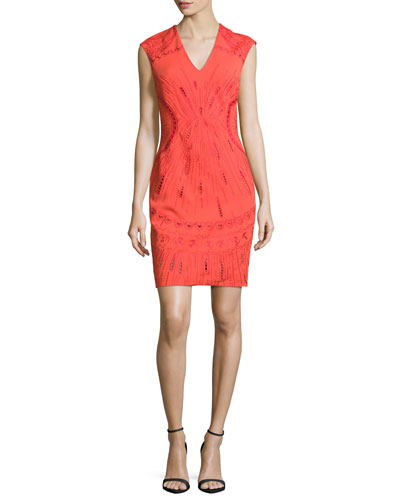 Sleeveless Embroidered Ponte Mini Dress, Mandarin