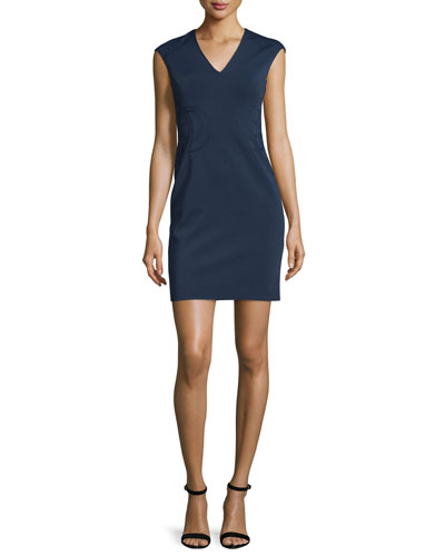 Sleeveless Embroidered Ponte Mini Dress, Navy