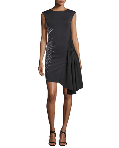 Sleeveless Draped Ponte Sheath Dress, Black/White
