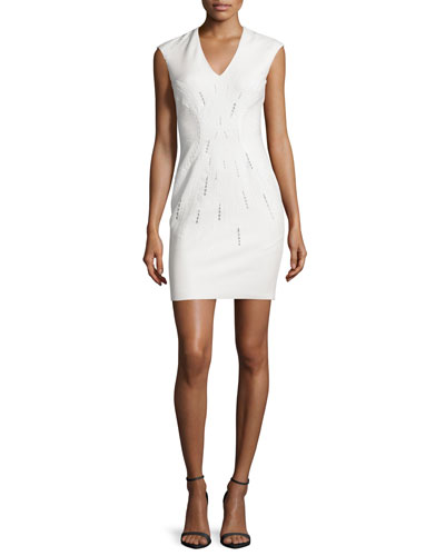 Embroidered Ponte V-Neck Sheath Dress, Ivory