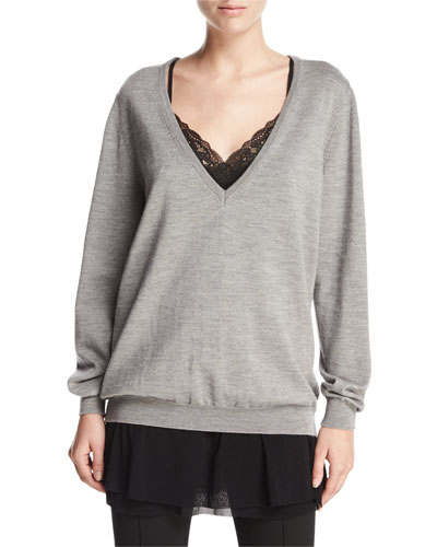 3-in-1 Ballet Sweater w/ Lace Cami & Chiffon Skirt, Chrome