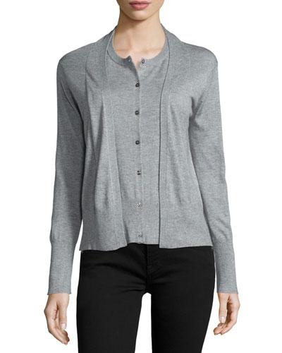Long-Sleeve Layered Cardigan, Heather Gray