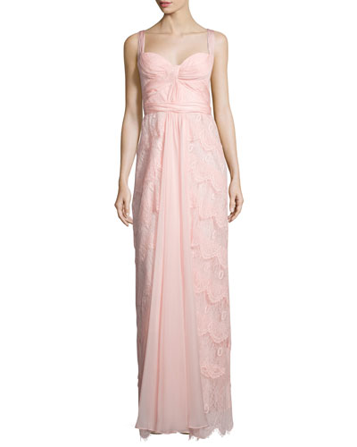 Sleeveless Sweetheart-Neck Layered Lace Dress, Pink