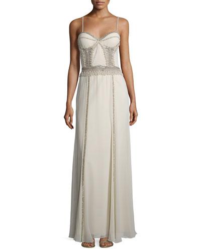 Sleeveless Embellished Corset Gown, Ivory