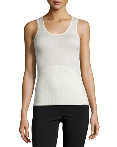 Scoop-Neck Fitted Tank Top, Ivory