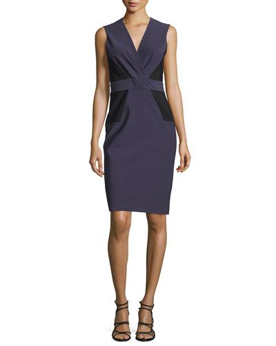 Sleeveless Pleated-Front Sheath Dress, Amethyst/Multi