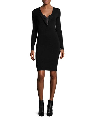 Long-Sleeve Corset V-Neck Sheath Dress